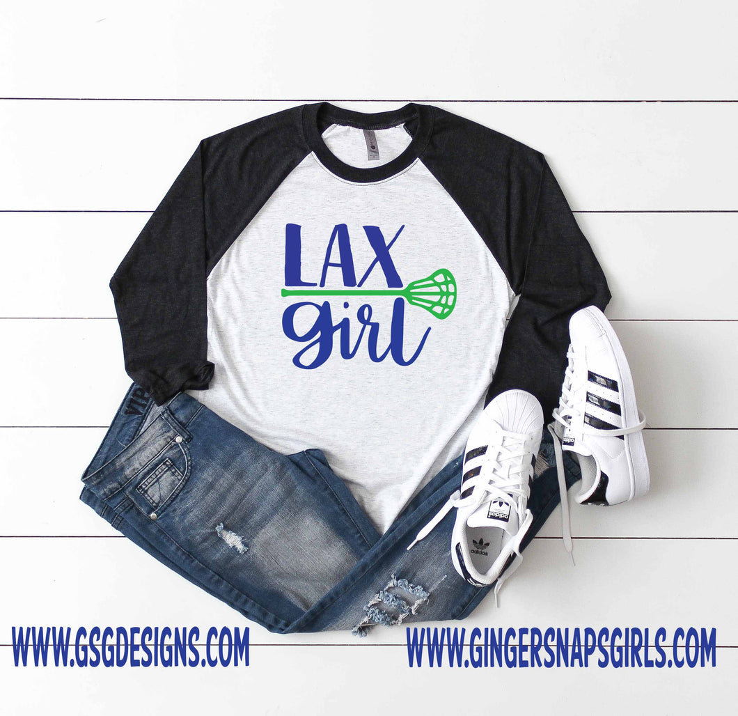 Lax Girl, Lacrosse Girl with Lacrosse Stick & personalized Team Colors Sublimation Transfers