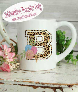 Leopard Watercolor Floral Initial Custom Monogram Sublimation Transfers
