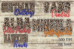 Custom Leopard Team or School Name and Mascot Sublimation Transfers