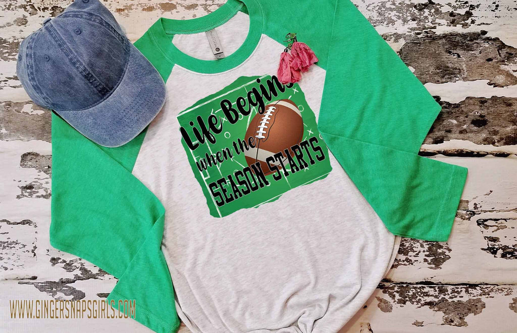 Life Begins When the Season Starts Football vintage style Sublimation Transfers