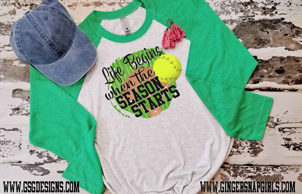 Life Begins When the Season Starts Softball Digital Design File PNG