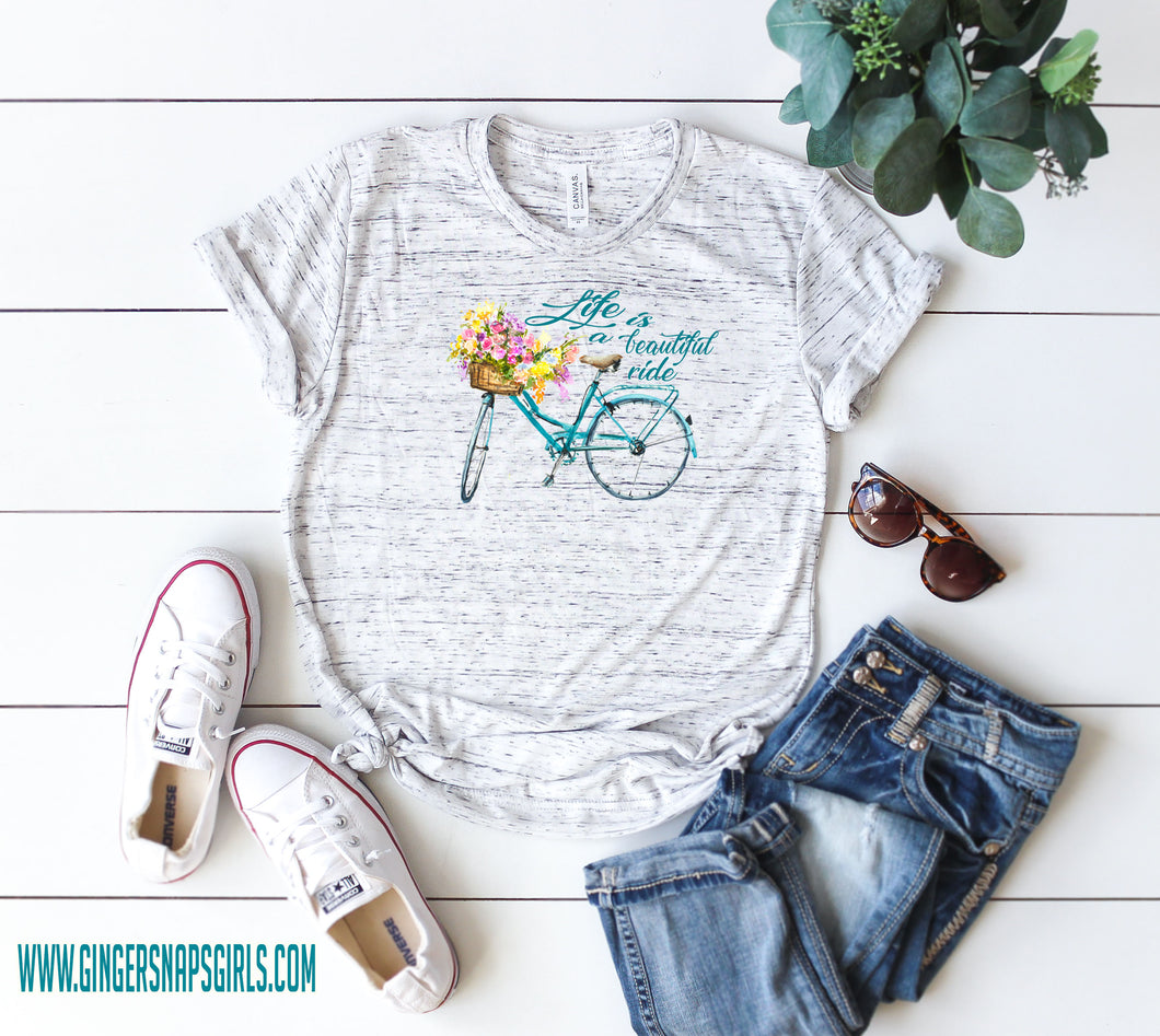 Life is a Beautiful Ride Watercolor Bicycle with Flowers Sublimation Transfers