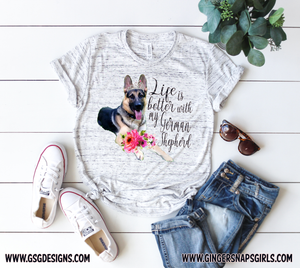 Life Is Better with My German Shepherd Watercolor Design, Dog Mom Sublimation Digital Design File