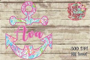 Coral Reef Anchor Monogram Sublimation Transfers