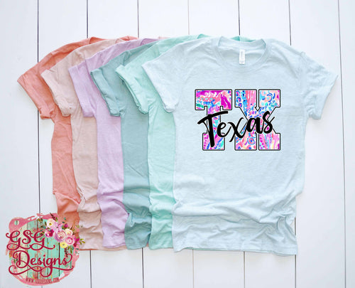 Texas TX Floral Lilly Screen Print Transfers RTS