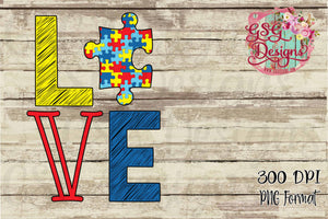 Love Autism Support Digital Sublimation Design File PNG