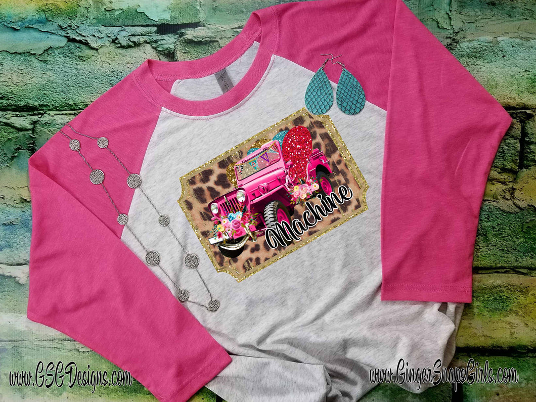Love Machine Jeep Leopard and Floral Valentine's Day Digital Print and Sublimation Design File