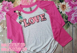 Love Pink Marquee Letters Valentine's Day vintage style Sublimation Transfers