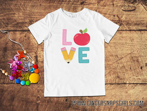 Love School Pencils and Apple Sublimation Transfers