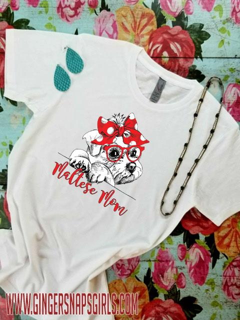 Maltese Mom Digital Design, Dog Mom Sublimation Design File