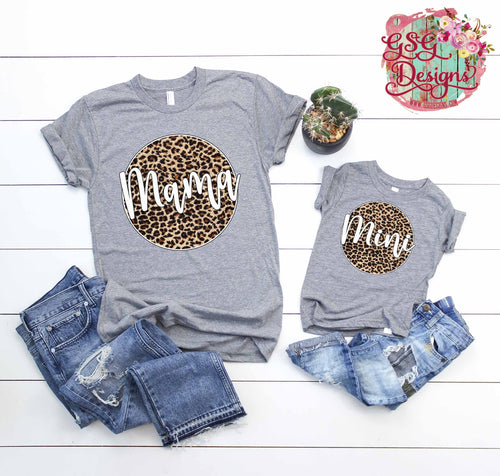 Mama, Mimi, Gigi, and Nana  Leopard Circles Screen Print Transfers RTS