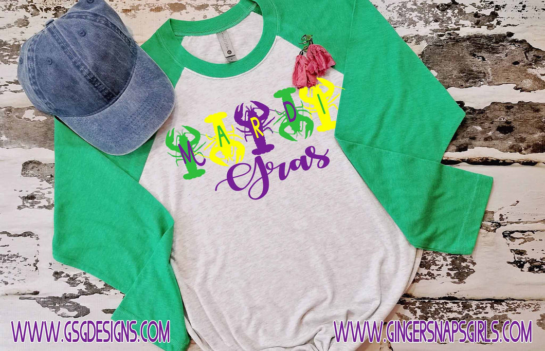 Crayfish Mardi Gras Purple Green and Yellow Sublimation Transfers