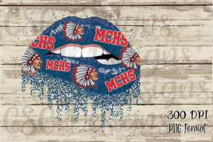 School & Team Spirit Custom Glitter Lips Sublimation Transfers
