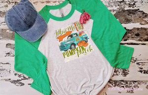 Follow Me to the Pumpkin Patch Blue Antique Truck Inspirational Sublimation Transfers