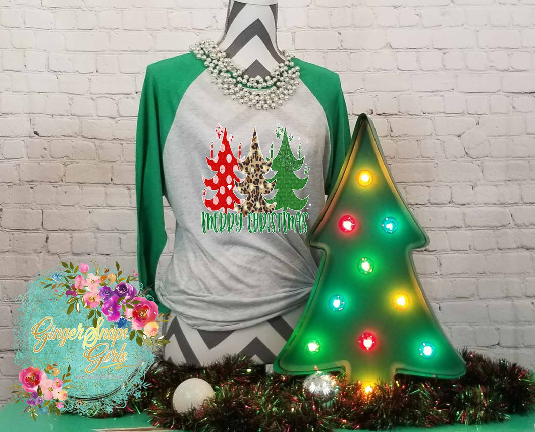 Merry Christmas Plaid and Polka Dot 3 ChristmasTrees Holiday Sublimation Transfers