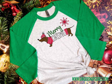 Load image into Gallery viewer, Dachshund Merry Christmas Red and Green Dog vintage style Sublimation Transfers