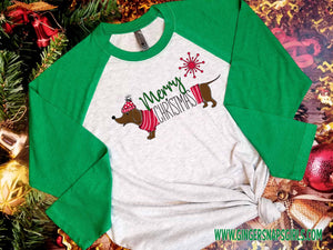Dachshund Merry Christmas Red and Green Dog vintage style Sublimation Transfers