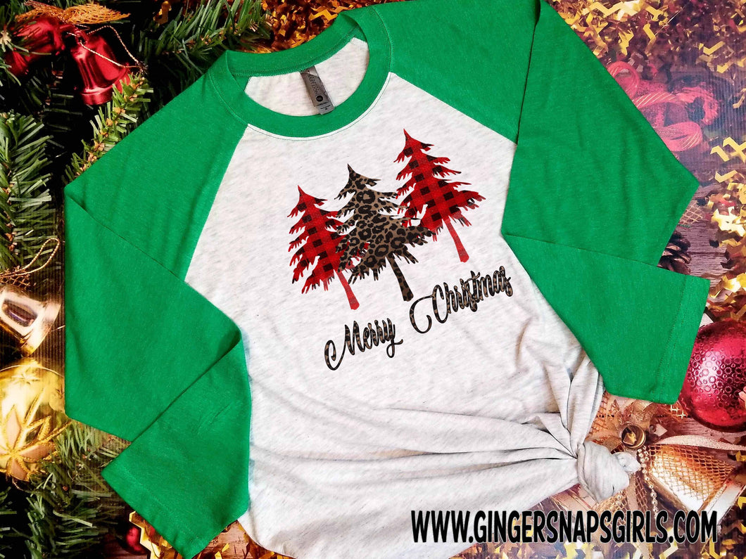 Merry Christmas Plaid and Leopard 3 Pine Trees Holiday Sublimation Transfers