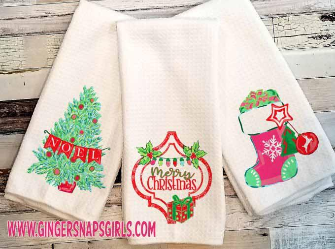 Preppy Christmas Stocking, Ornament, Noel Tree vintage style Sublimation Transfers