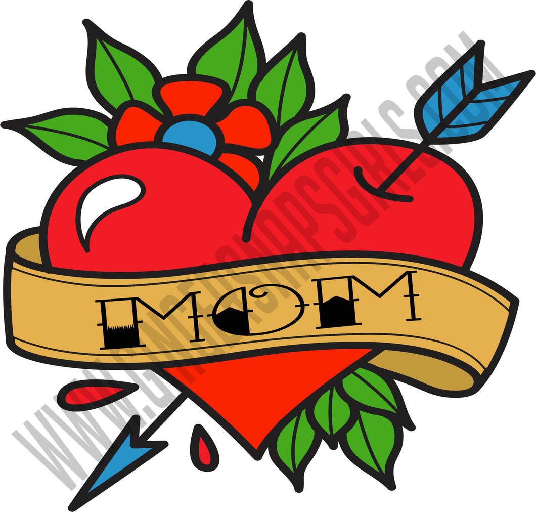 Mom tattoo vintage style Sublimation Transfers
