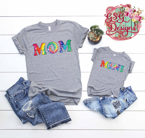 Mom and Mini Tie Dye Screen Print Transfers RTS Mini, Mama restocking 10/19