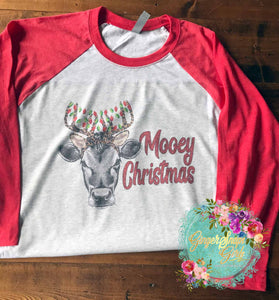 Mooey Christmas Heifer in Antlers with Lights Printable and Sublimation Digital Design File