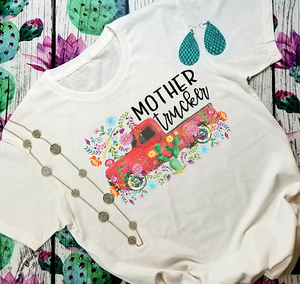 Mother Trucker Floral Antique Truck Funky vintage style Sublimation Transfers