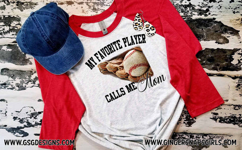 Baseball My Favorite Player Calls Me Mom Watercolor Digital Design File