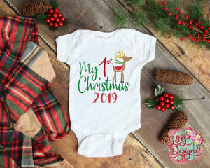 My First Christmas Reindeer 2019 Glitter Sublimation Transfers