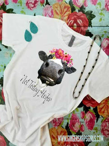 Not Today Heifer Black & White Cow in Floral Crown Sublimation Transfers
