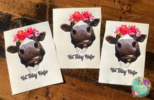 Load image into Gallery viewer, Not Today Heifer Black & White Cow in Floral Crown Sublimation Transfers