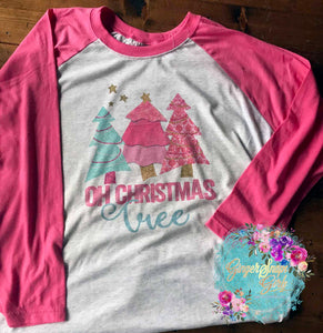 Oh Christmas Tree Pink and Blue Trees Sublimation Transfers