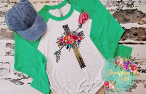 Rugged Cross with Arrows and Flowers Sublimation Transfers