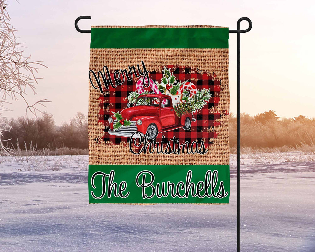 Merry Christmas Antique Red Truck Custom Holiday vintage style Sublimation Transfers