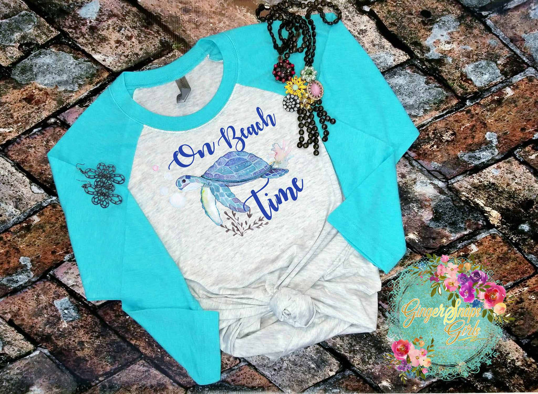 On Beach Time Sea Turtle Watercolor Digital Design File