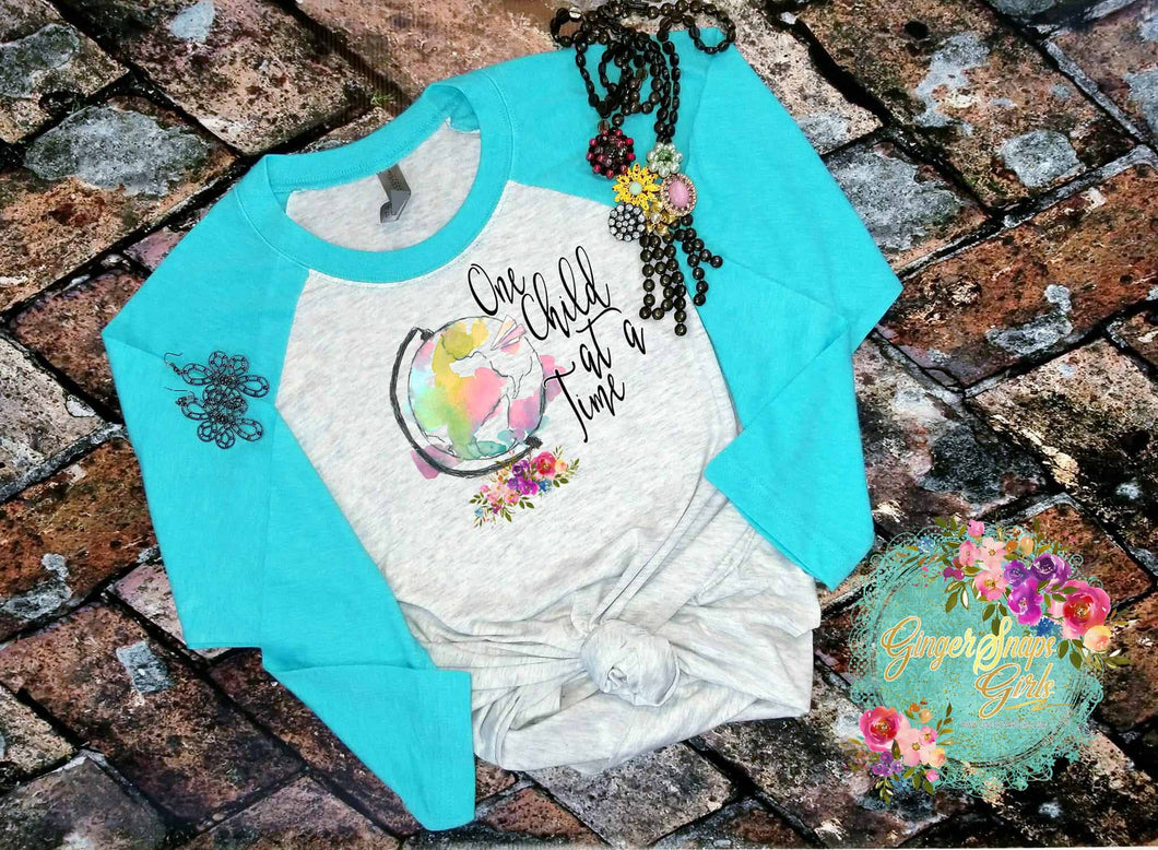 One Child at a Time Watercolor Globe and Flowers, Teacher Sublimation Transfers