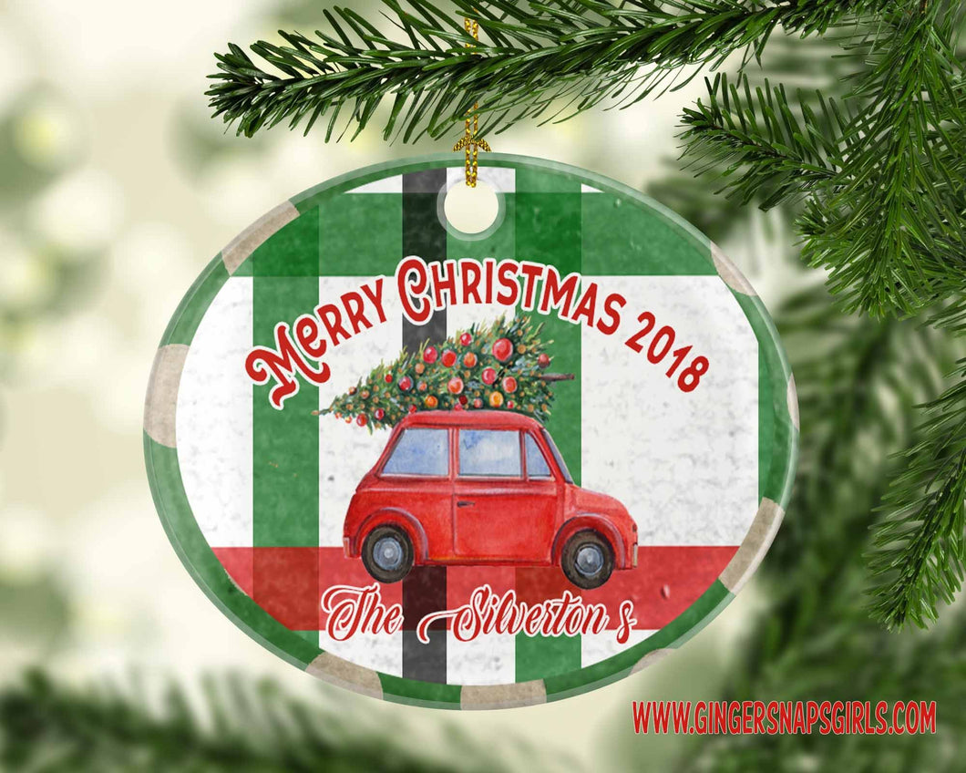 Little Red Christmas Car with Christmas Tree Red and Green Plaid Christmas vintage style Sublimation Transfers