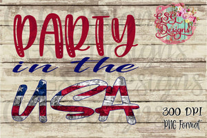 Party In the USA Red White and Blue Digital Design File PNG