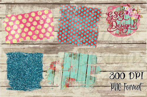 Pastel Polka Dot, Turquoise Glitter, and Vintage Aqua Wood Brushed Clipart Background for Printing or Sublimation and Design