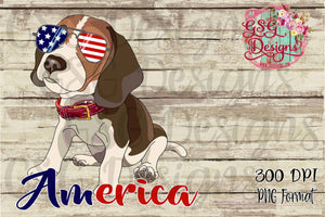 Patriotic Pooch- Beagle in American Glasses Sublimation Transfers