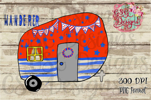 Patriotic Camper Red White and Blue Printable and Sublimation Digital Design File PNG
