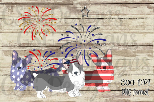 4th of July Corgis Red, White & Blue Dog Mom Digital Design File PNG
