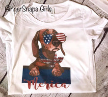 Load image into Gallery viewer, Patriotic Pooch- 'Merica Dachshund in American Flag glasses & Bandanna Sublimation Transfers