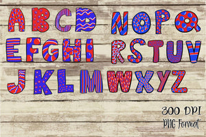 Patriotic Hand Lettered Doodle Alphabet Digital Design File PNG