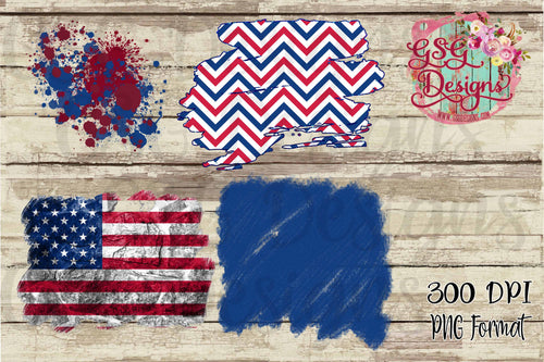Patriotic American Flag and Red, White and Blue Clipart and Brush Design Clipart for Printing or Sublimation and Design