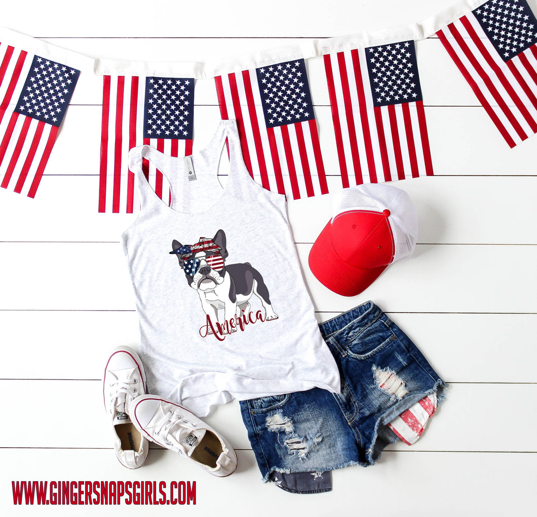 Patriotic Pooch- American Frenchie, French Bulldog in American Flag Bandanna Sublimation Transfers