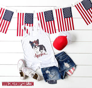 Patriotic Pooches - Frenchie dog Red, White & Blue Dog Mom Digital Design File