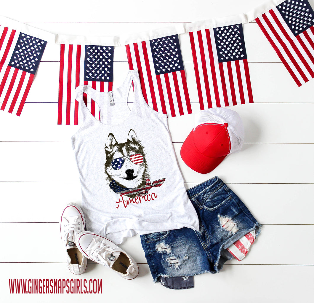 Patriotic Pooch- American Husky in American Flag Bandanna and Glasses Sublimation Transfers