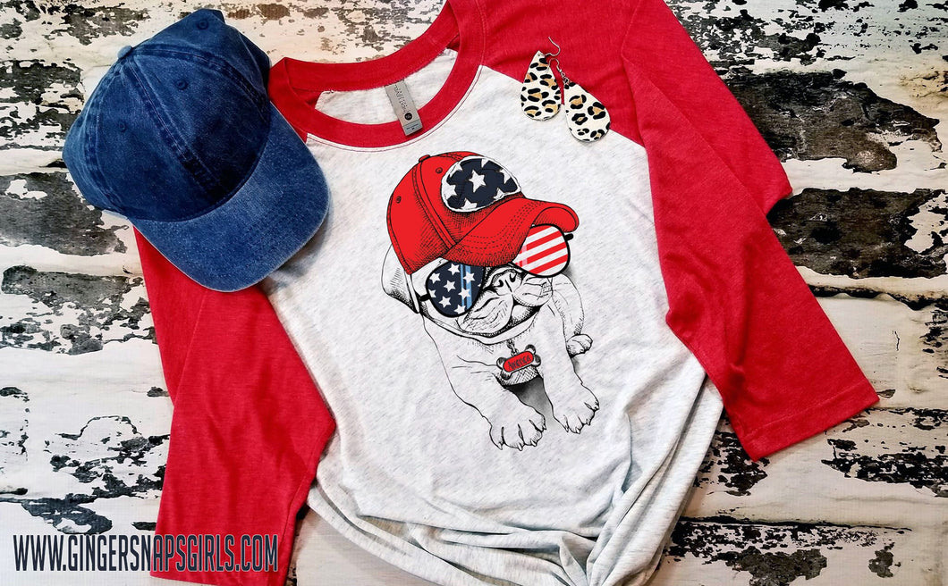 Patriotic Pooch- Pug in American Glasses and Cap Sublimation Transfers
