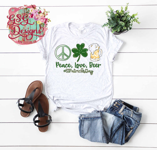 Peace Love and Beer #StPatricksDay Digital Design File PNG